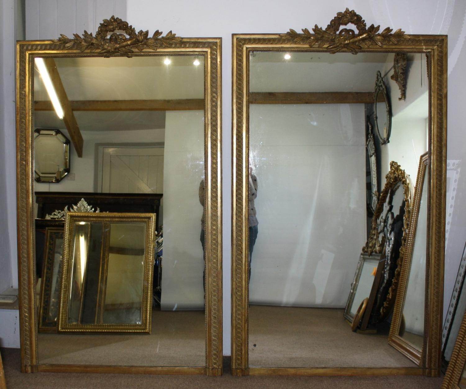 Large Pair Of Gilt Mirrors Within Antique Mirrors Large (Image 18 of 20)