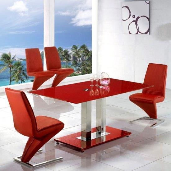 Large Red Glass Dining Set And 6 Z Red Dining Chairs Inside Red Dining Tables And Chairs (Image 15 of 20)