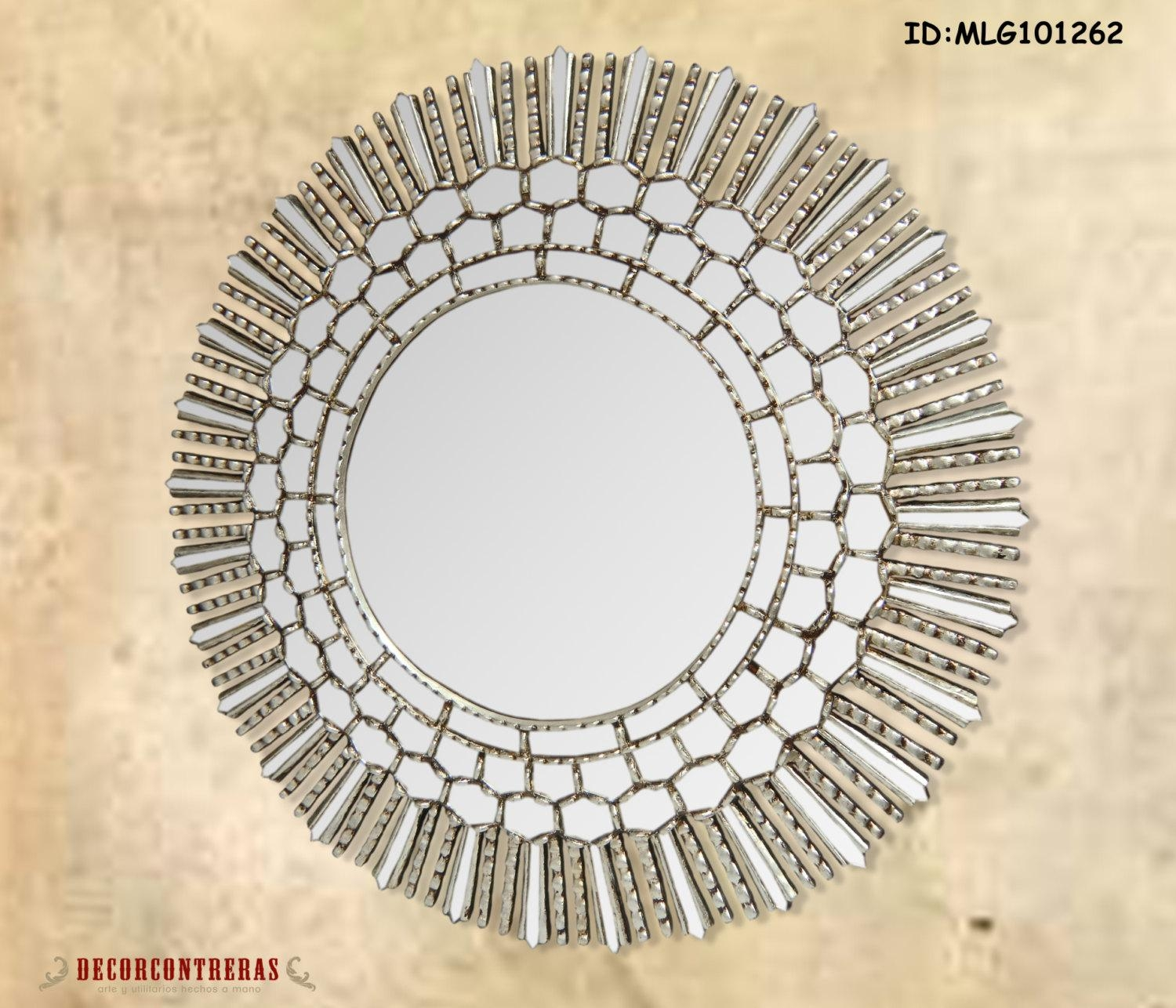 Large Round Decorative Wall Mirror Cuzco Style  (Image 7 of 20)