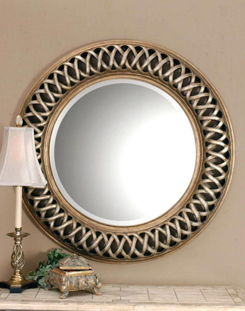 Large Round Gold Mirror – Shopwiz With Antique Round Mirror (Image 10 of 20)