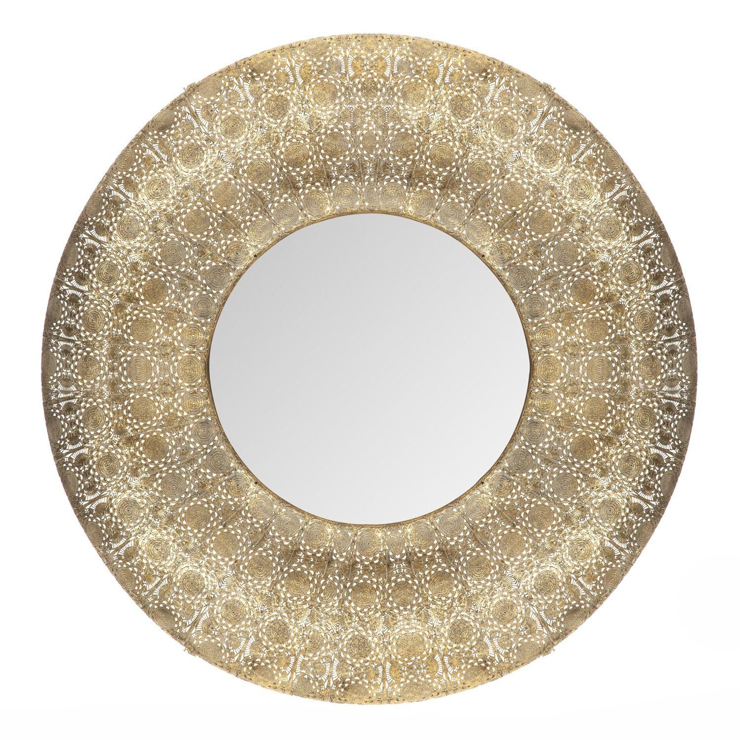 Large Round Gold Moroccan Arabian Arabesque Rare • Samisonline In Gold Round Mirrors (Image 10 of 20)