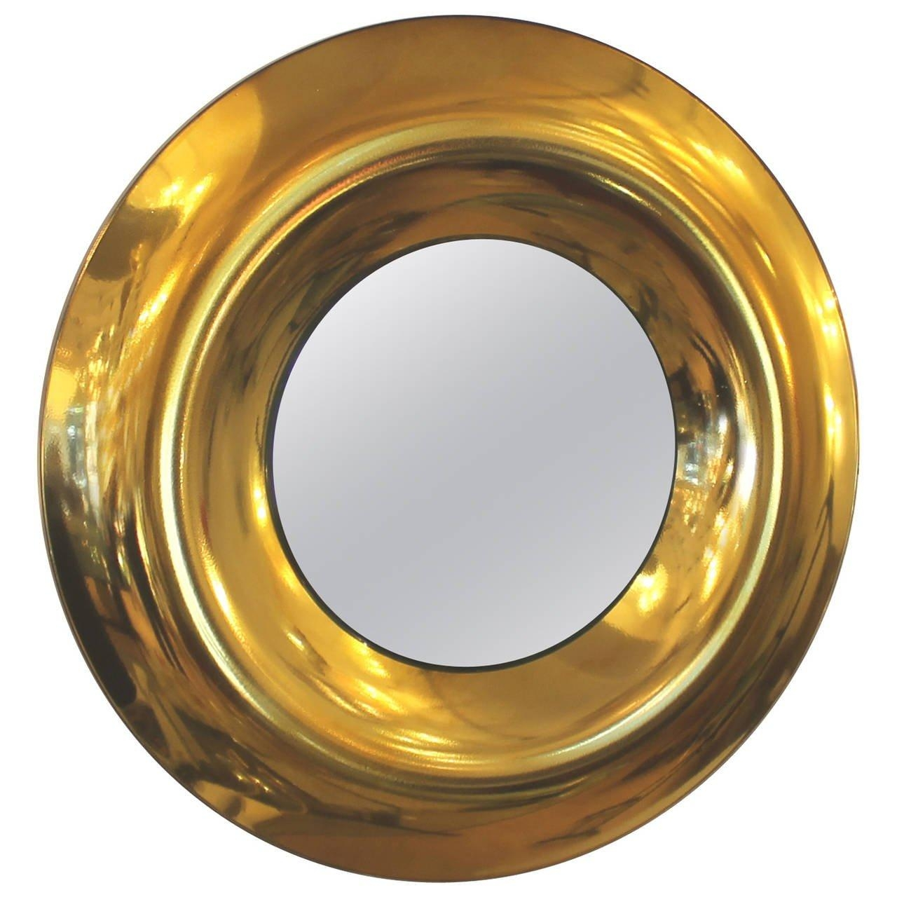 Large Round Golden Glass Mirrorstudio Ghiro, Italy, 2014 For In Large Round Gold Mirror (View 20 of 20)
