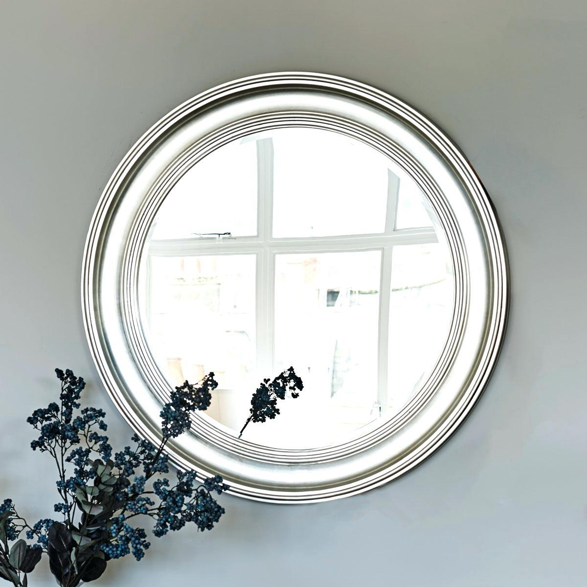 Large Round Silver Leaf Mirrorlarge Wall Mirror Sale White Uk Intended For Large Round Silver Mirror (Image 9 of 20)