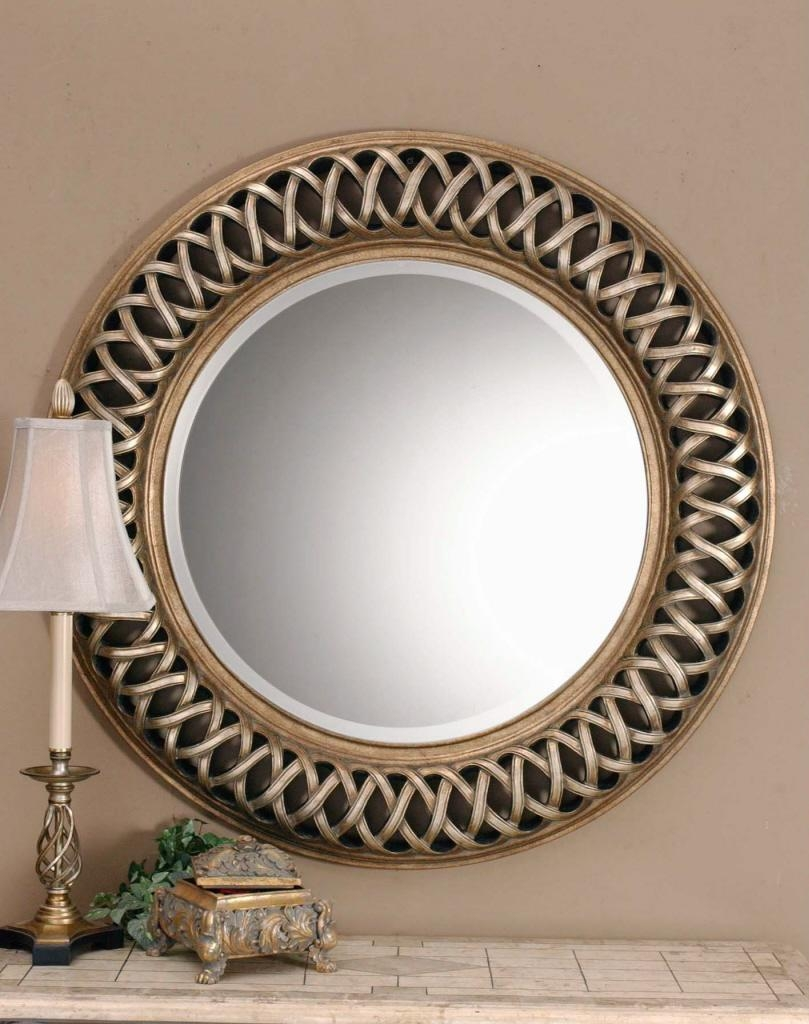 Large Round Silver Mirror – Harpsounds (Image 13 of 20)