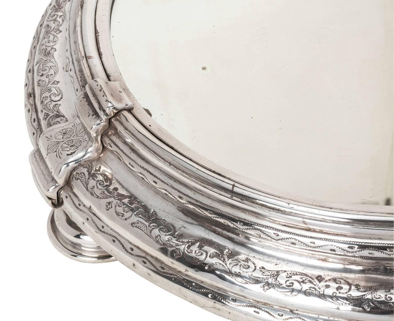 Large Round Silver Plate Plateau Mirror, Circa 1820 At 1Stdibs In Large Round Silver Mirror (Image 12 of 20)