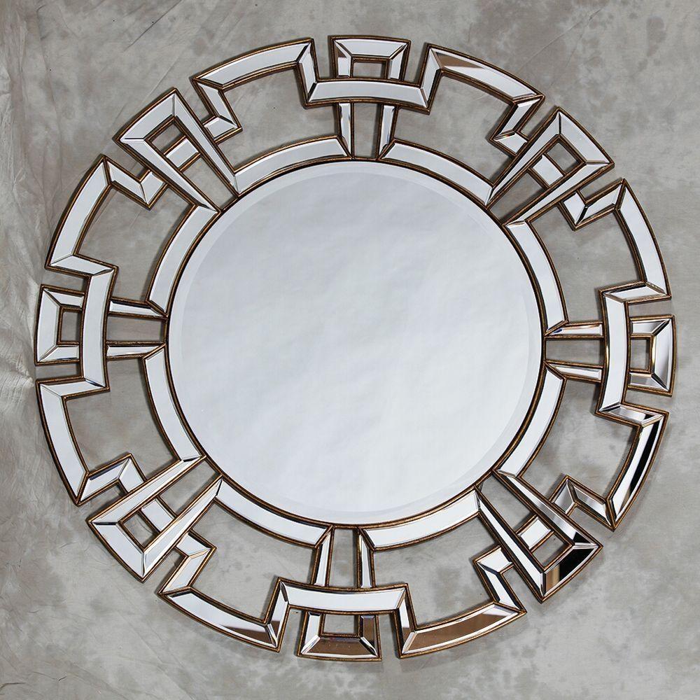 Large Round Silver Venetian Aztec Mirror In Large Round Silver Mirror (View 15 of 20)