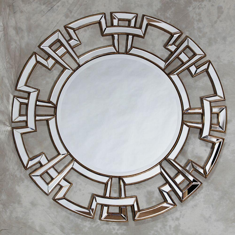 Large Round Silver Venetian Aztec Mirror Throughout Large Round Gold Mirror (Image 15 of 20)