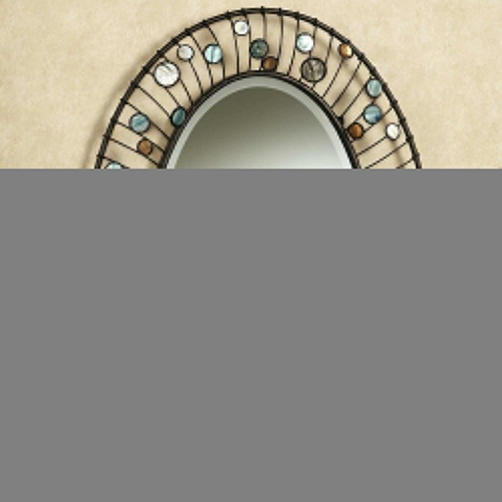 Large Round Wall Mirror In Square Walnut Frame Italy 1940Sunique Pertaining To Oval Shaped Wall Mirrors (Image 10 of 20)