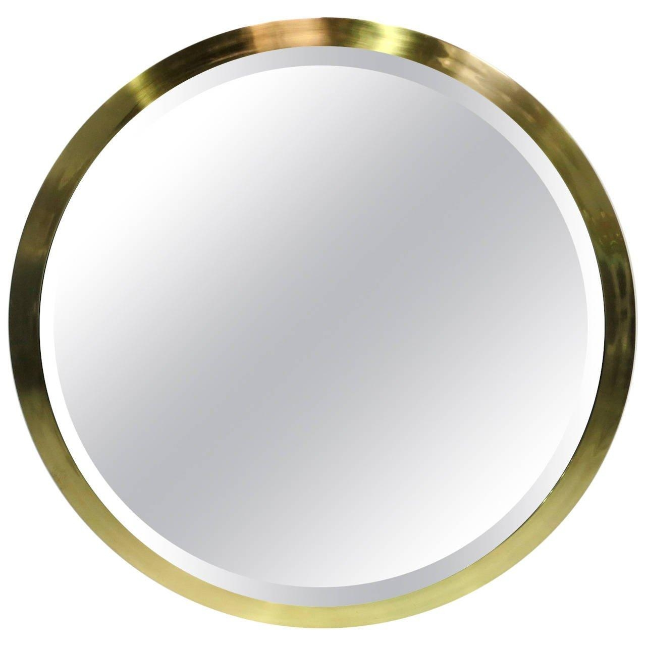Large Scale Round Beveled Mirror With Brass Frame At 1Stdibs Regarding Large Circular Mirror (Image 15 of 20)