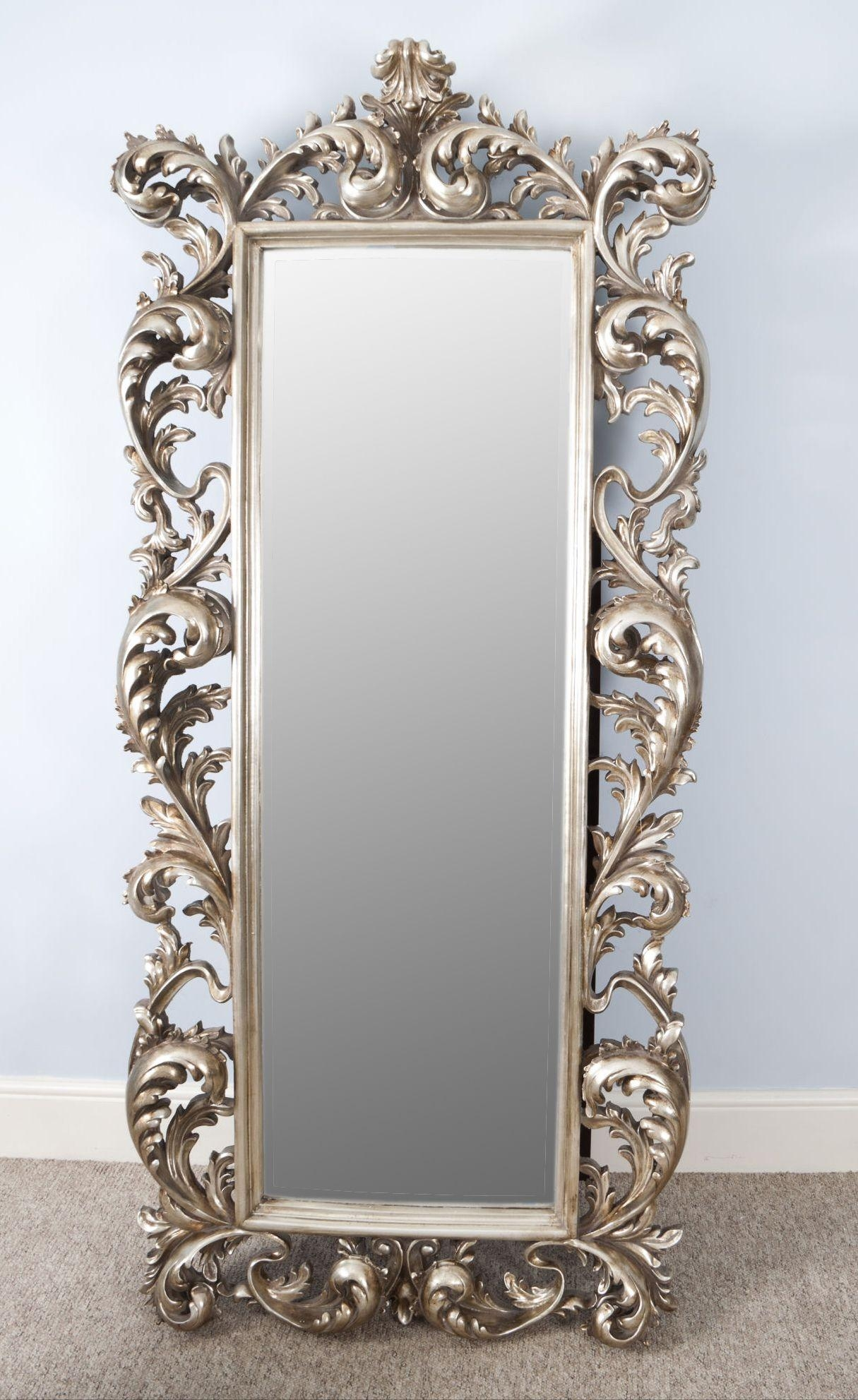 Large Silver Wall Mirror 57 Nice Decorating With Large Ornate Wall Pertaining To Large Rococo Mirror (Image 13 of 20)