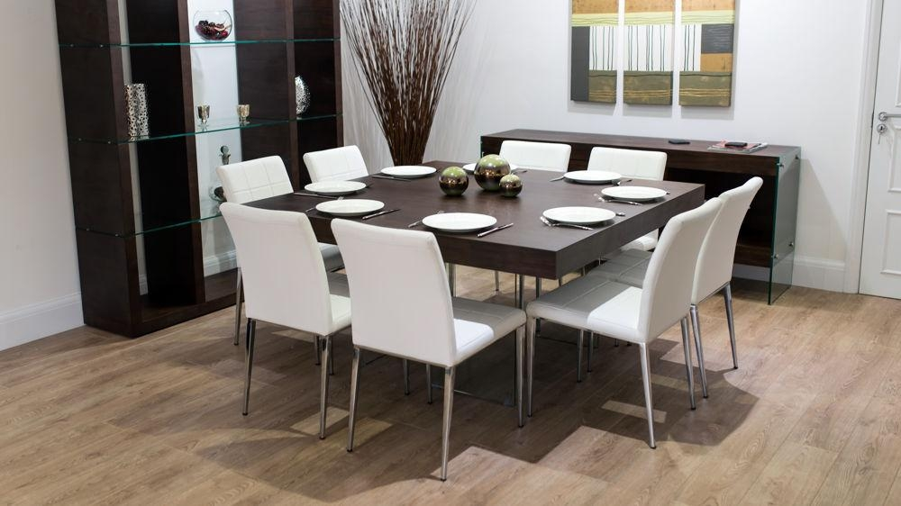 Large Square Dark Wood Dining Table | Glass Legs | 6 8 Quilted Chairs For Dark Wooden Dining Tables (Image 15 of 20)