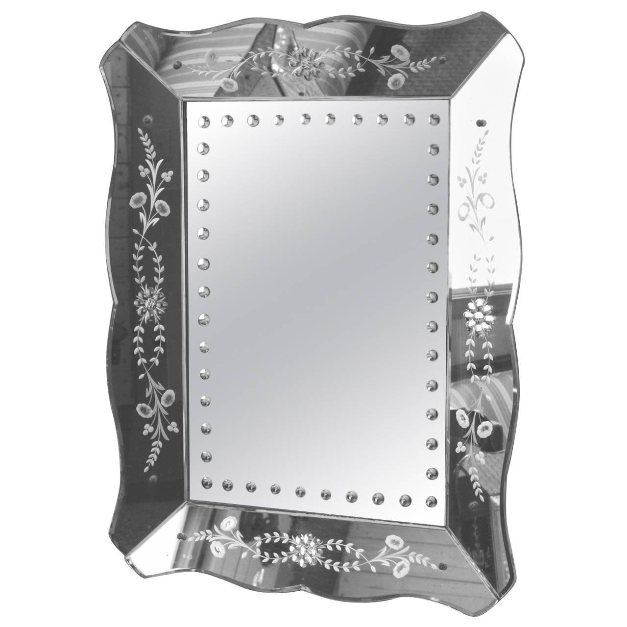 Large Venetian Mirror With Etched Frame At 1Stdibs Within Black Venetian Mirror (Image 11 of 20)