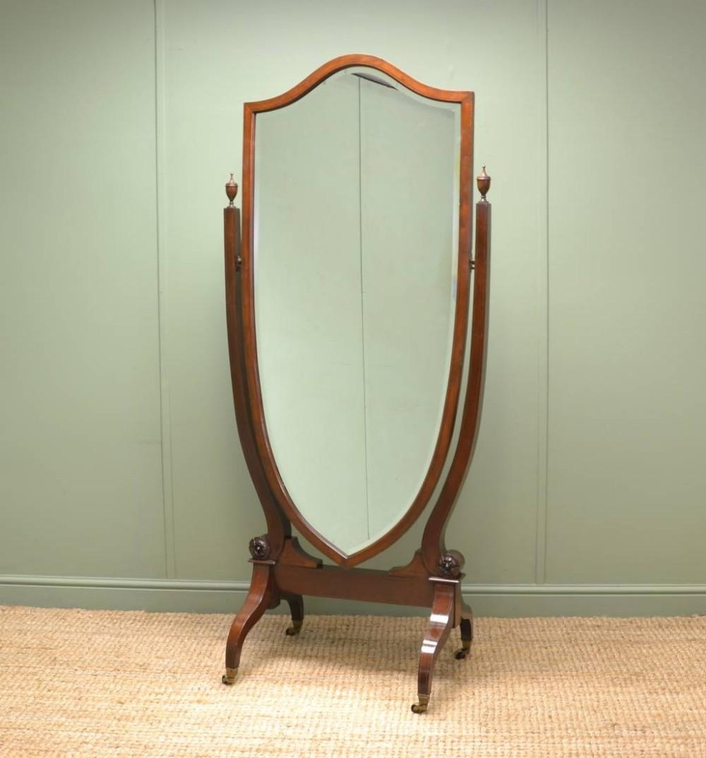 Large Victorian Inlaid Mahogany Full Length Antique Cheval Mirror Throughout Full Length Cheval Mirror (Image 17 of 20)