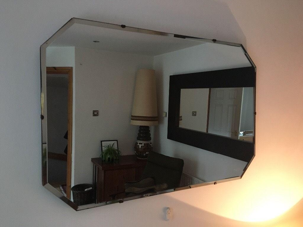 Large Vintage Art Deco Frameless Mirror | In Ravenhill, Belfast For Art Deco Frameless Mirror (View 14 of 20)