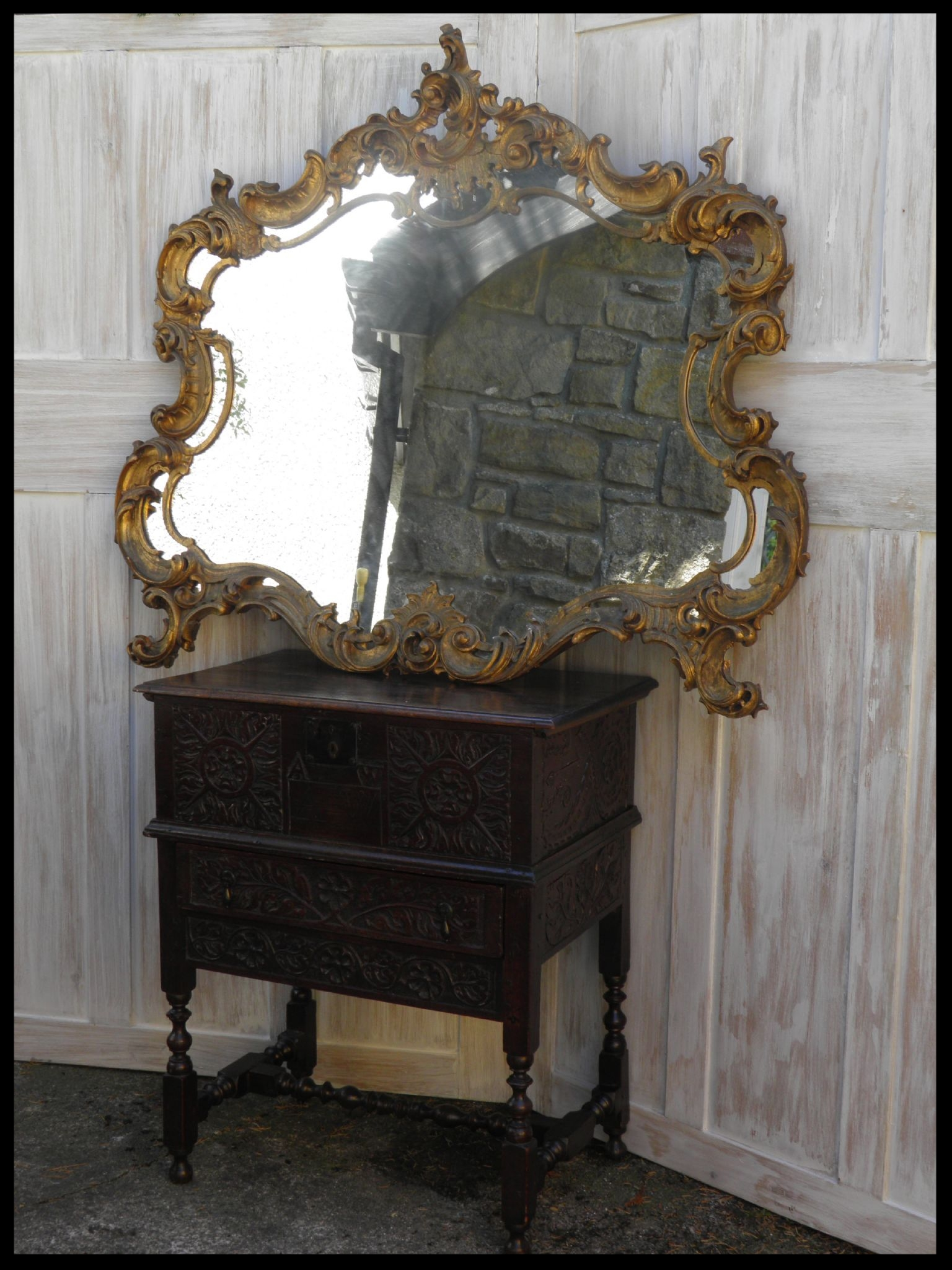 Large Vintage French Rococo Mirror For French Rococo Mirror (Image 14 of 20)