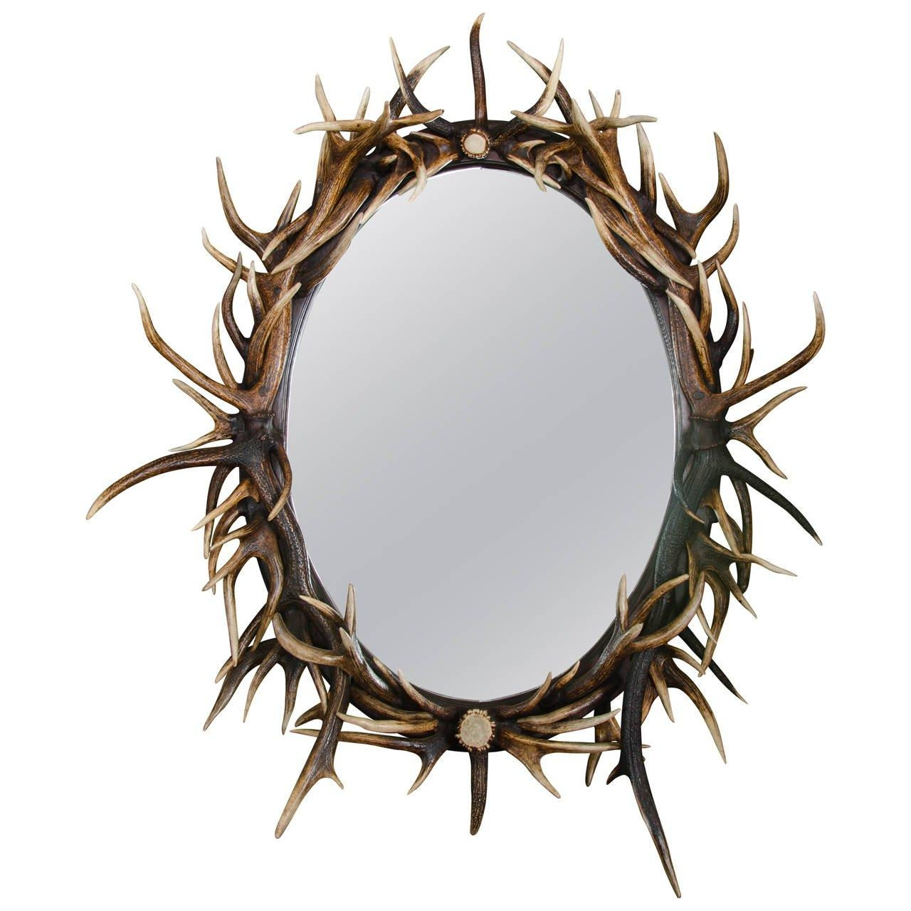 Late 20Th Century Large Oval Antler Mirror For Sale At 1Stdibs Pertaining To Round Mirror For Sale (View 15 of 20)