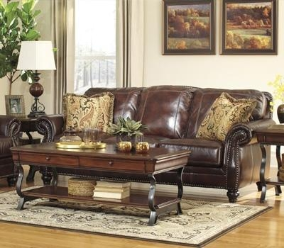 Latest Saddle Brown Leather Sofa Saddle Brown Leather Sofa With Regard To Benchcraft Leather Sofas (Image 6 of 20)