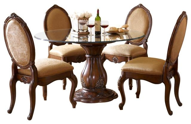 Lavelle Melange 5 Piece Round Glass Top Dining Table Set With Regard To Traditional Dining Tables (Image 10 of 20)