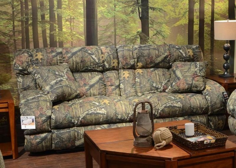 Lay Flat Reclining Sofa In Mossy Oak Or Realtree Camouflage Fabric With Camo Reclining Sofas (Image 17 of 20)