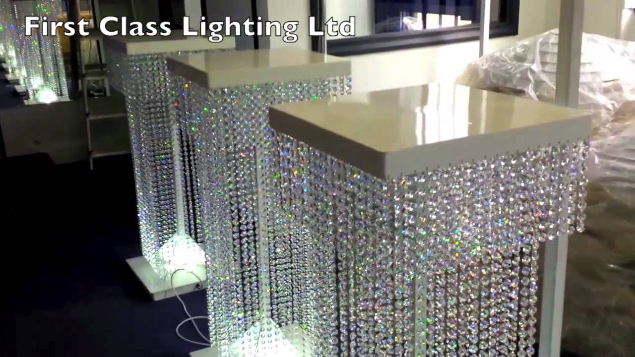 Led Custom Bespoke Crystal Wedding Pillars Chandelier First Inside Stand Up Chandeliers (Image 14 of 25)