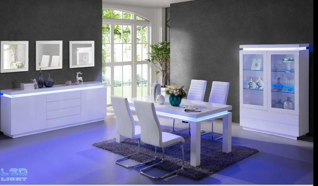 Lenovo Dining Table In White High Gloss With Led Lights Intended For Dining Tables With Led Lights (Image 11 of 20)