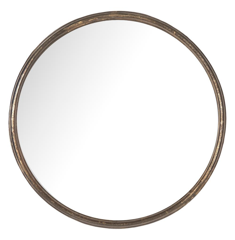 Libby Hollywood Regency Thin Frame Antique Bronze Round Mirror Regarding Antique Round Mirror (Image 11 of 20)