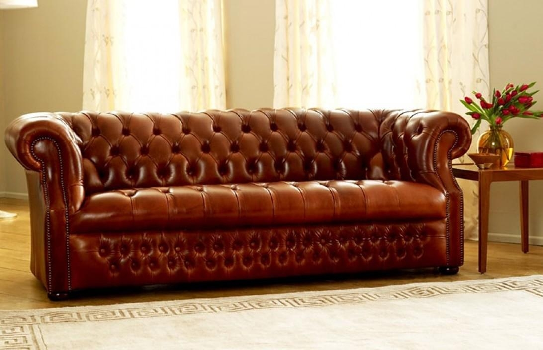 Light Brown. Cream Leather Chesterfield Sofa (View 14 of 20)
