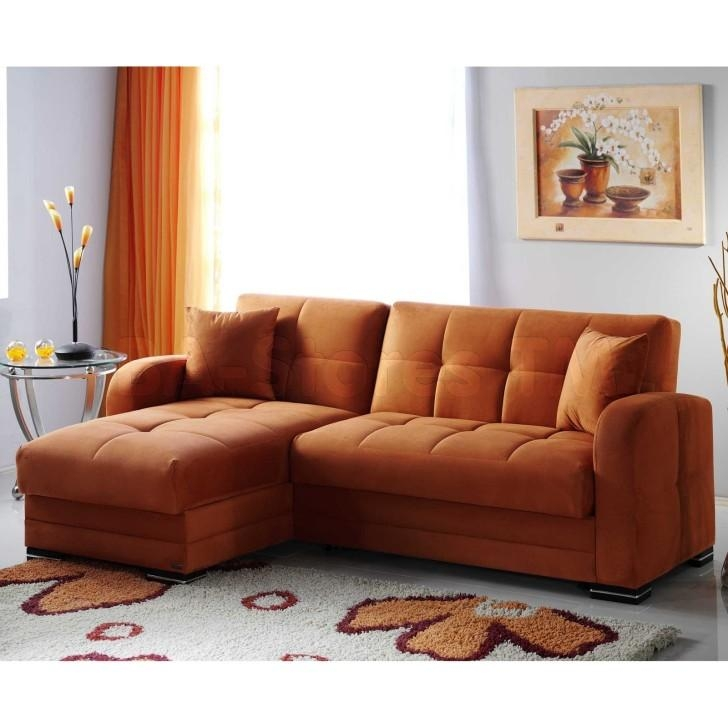 Light Brown Short Sectional Sofa Combined Two Tones Wall Color Pertaining To Short Sofas (View 15 of 20)
