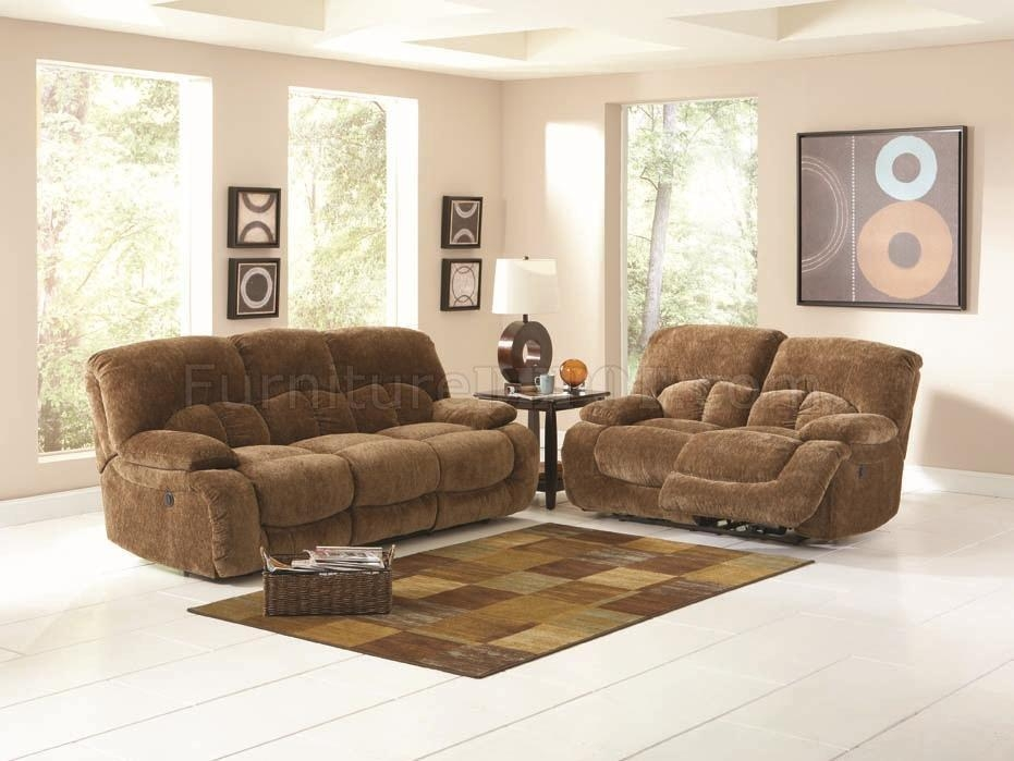 Light Brown Velvet Fabric Modern Reclining Sofa & Loveseat Set Inside Reclining Sofas And Loveseats Sets (Image 12 of 20)