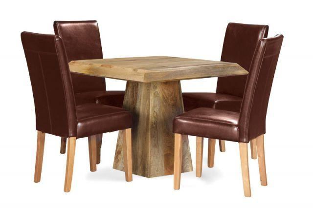 Light Mango 90Cm Pyramid Dining Table & 4 Barcelona Chairs | Trade With Regard To Barcelona Dining Tables (Image 16 of 20)