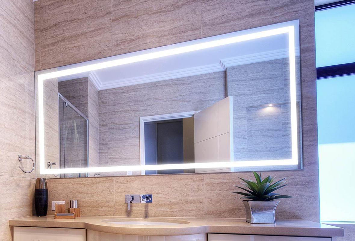 Lighted Bathroom Mirrors Large Illuminated Led Bathroom Mirror Intended For Large Illuminated Mirror (Image 15 of 20)