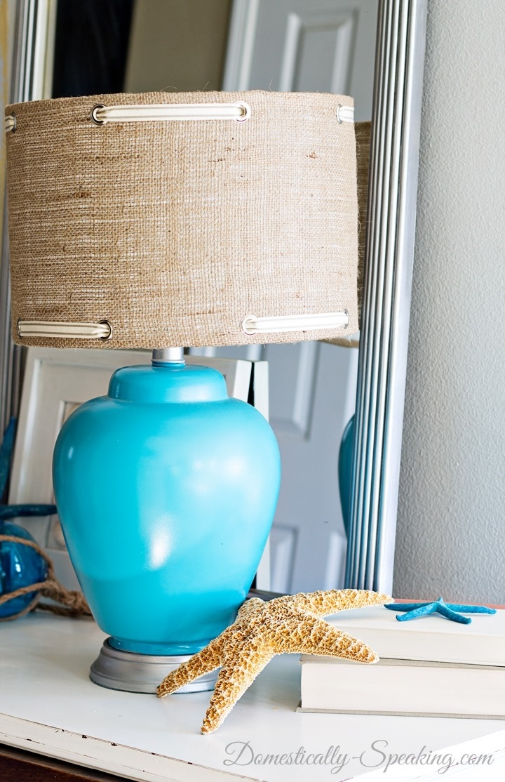 Lighting Creative Burlap Lamp Shade For Home Lighting Ideas With Turquoise Chandelier Lamp Shades (Image 16 of 25)