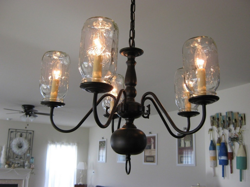 Lighting Reusable Mason Jar Lids Leaf Chandelier Candle Throughout Led Candle Chandeliers (Image 11 of 25)