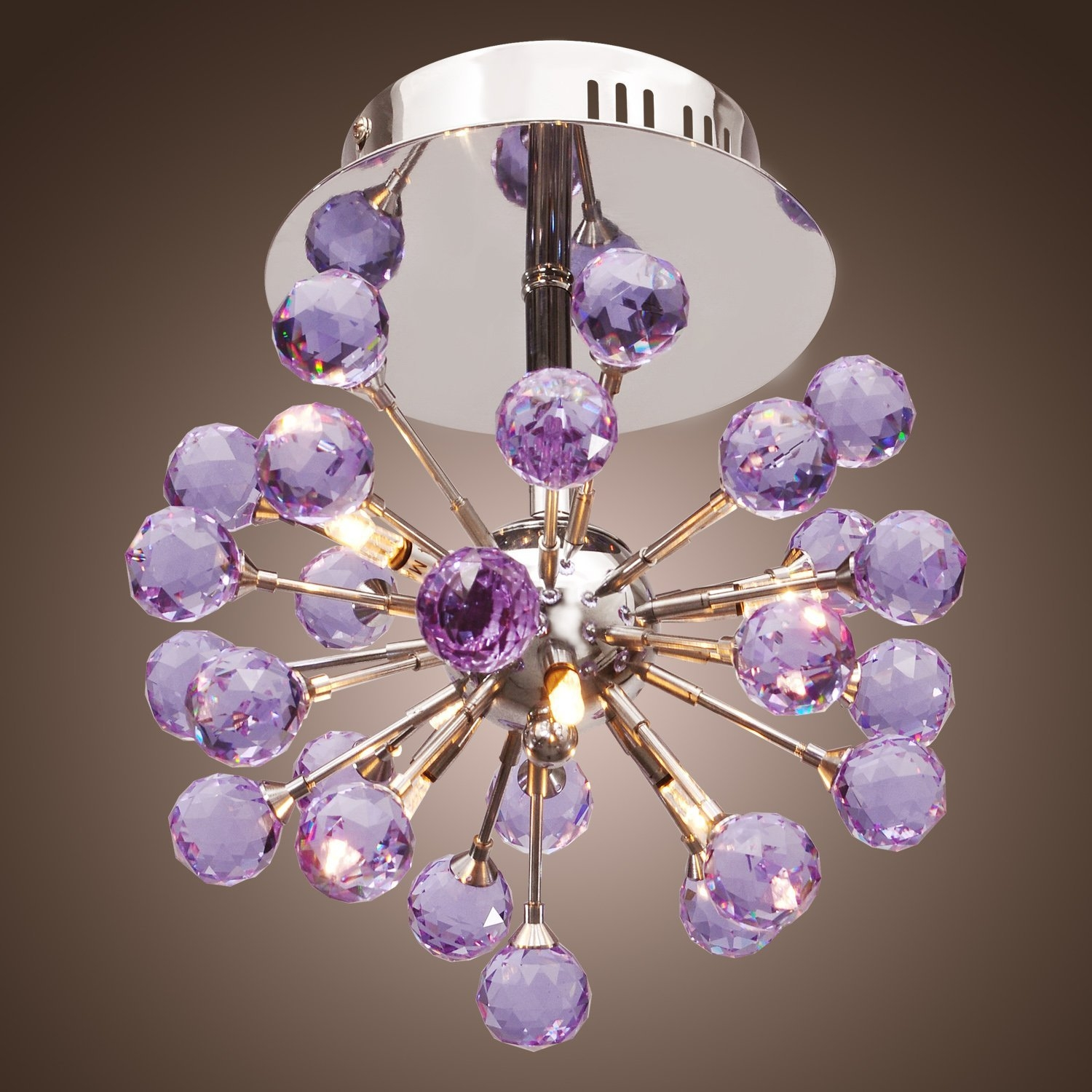 Lightinthebox 6 Light Floral Shape K9 Crystal Ceiling Light Purple In Purple Crystal Chandelier Lights (Image 15 of 25)