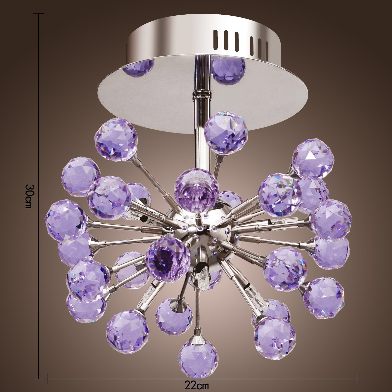 Lightinthebox 6 Light Floral Shape K9 Crystal Ceiling Light Purple Intended For Purple Crystal Chandelier Lighting (Photo 24 of 25)