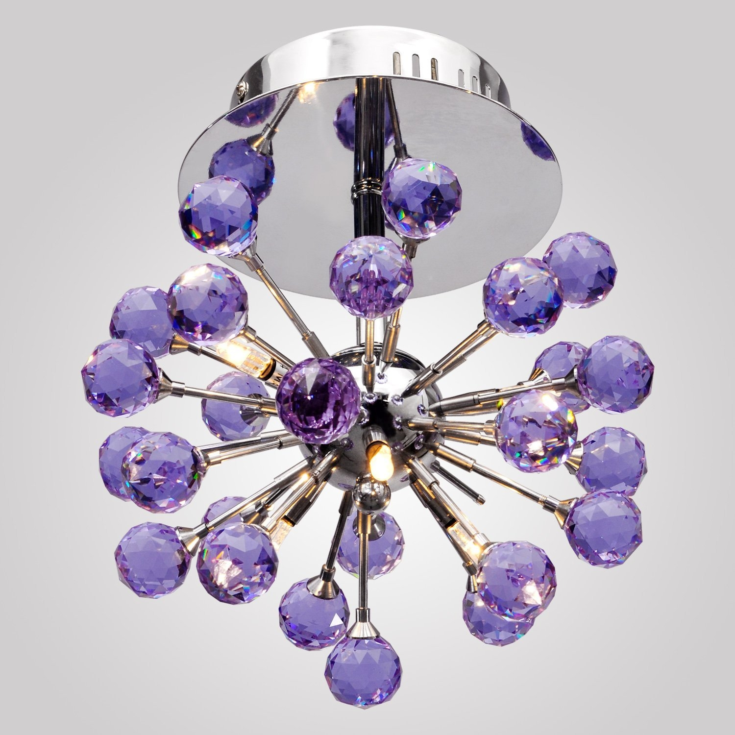 Lightinthebox 6 Light Floral Shape K9 Crystal Ceiling Light Purple With Regard To Purple Crystal Chandelier Lights (Image 17 of 25)
