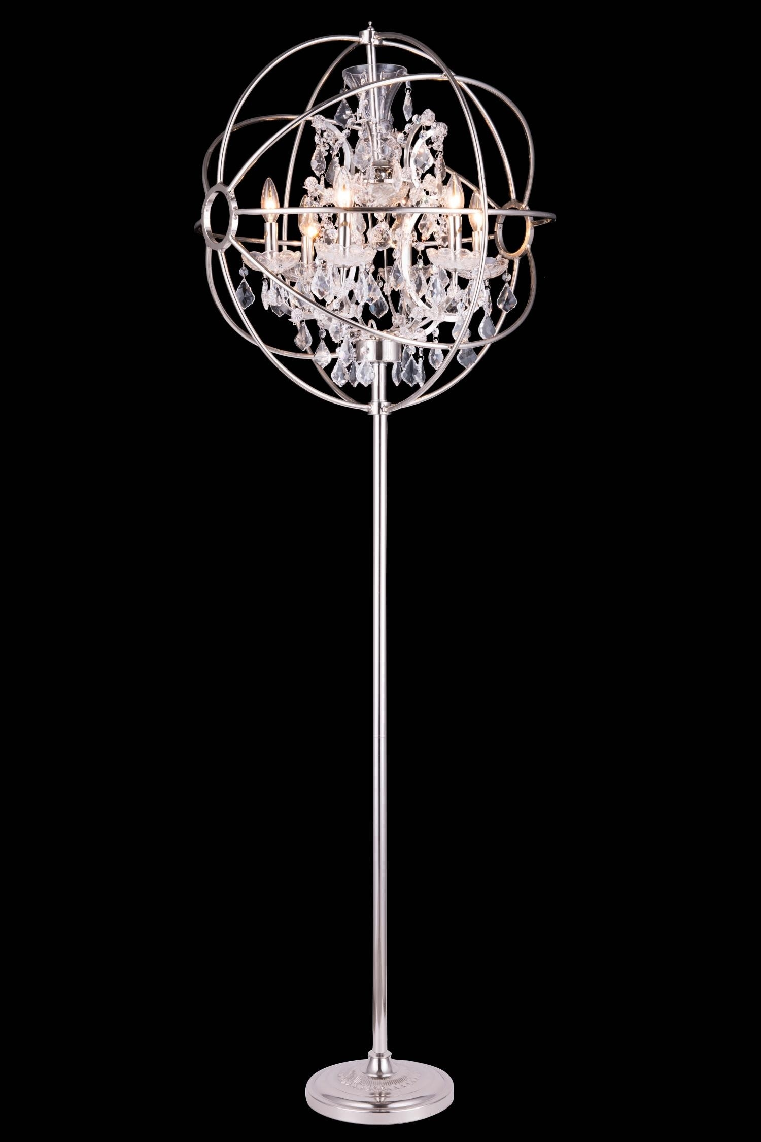 Lights Polished Chrome Floor Lamp Chandelier Floor Lamp In Standing Chandeliers (View 8 of 25)