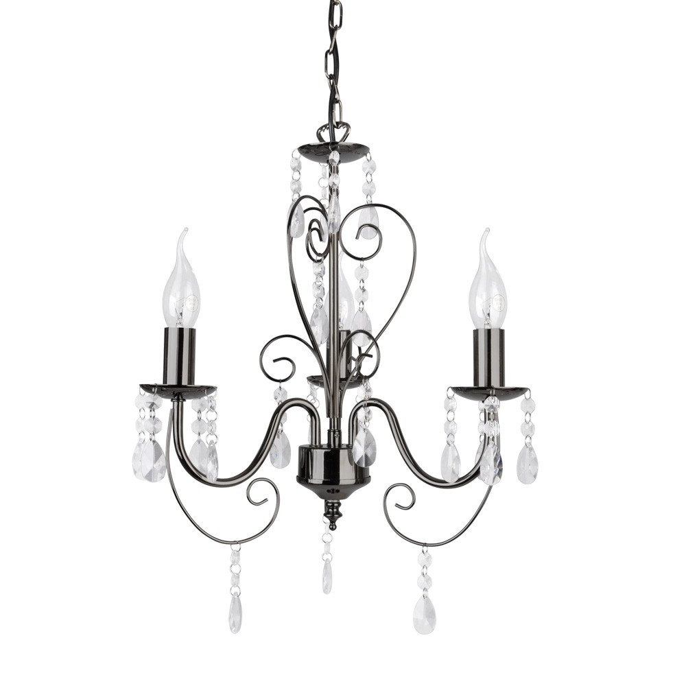 Lille Three Way Chandelier Ceiling Light Fitting In Black Chrome With Light Fitting Chandeliers (Image 19 of 25)
