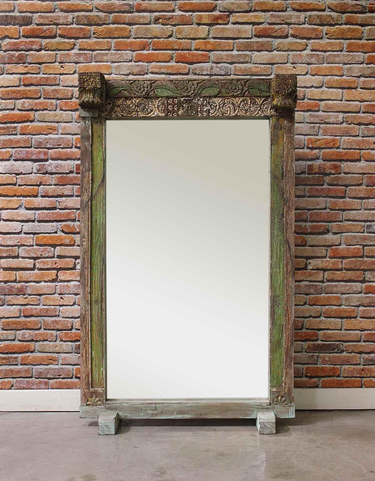 Lime Green Vintage Floor Mirror – Mirrors – Home Furnishings Regarding Vintage Large Mirrors (Image 12 of 20)