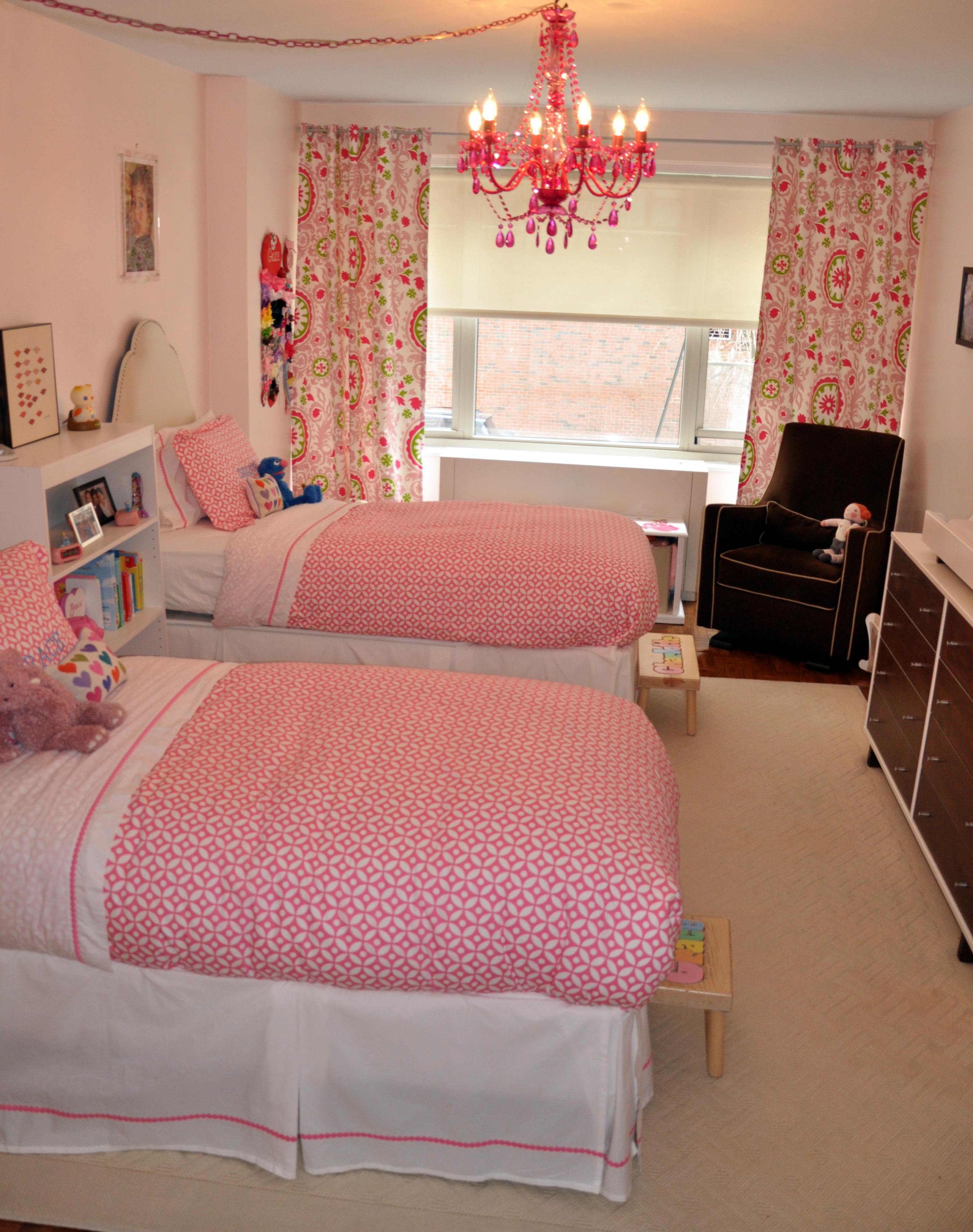 Little Girls Shared Pink Bedroom Project Nursery With Gypsy Chandeliers (View 7 of 25)