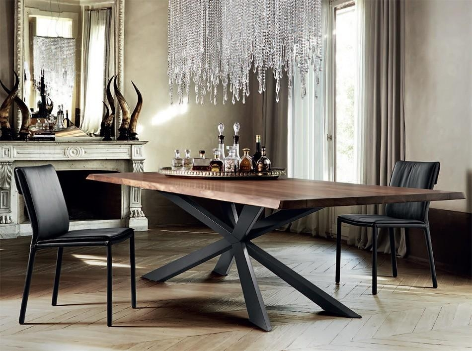 Live Edge Acacia Wood Dining Table With Glass River Centre Slab Throughout Dining Tables With Metal Legs Wood Top (Image 14 of 20)