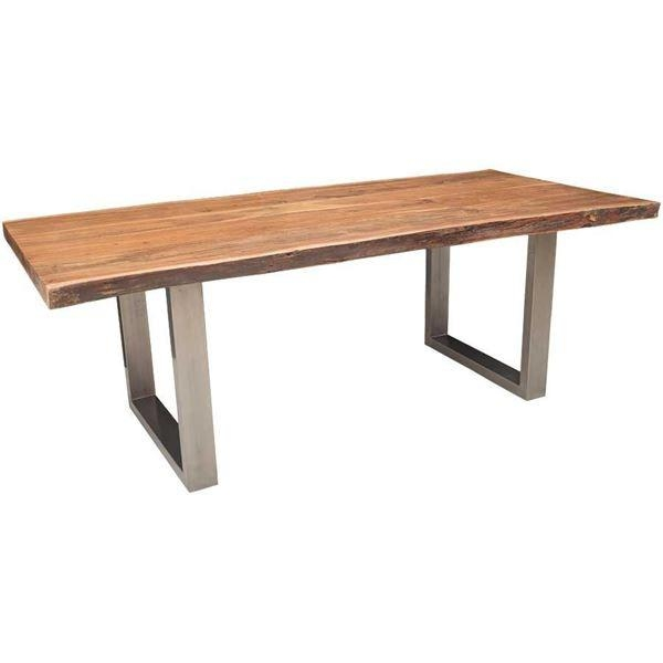 Live Edge Dining Table With Steel Base | Afw Within Acacia Dining Tables (Image 15 of 20)