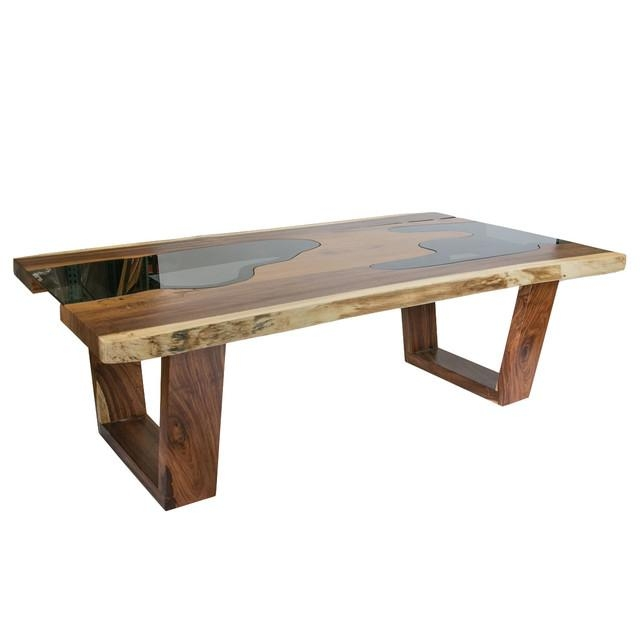 Live Edge Solid Wood Slab Dining Table With Glass Inserts For Wood Glass Dining Tables (Image 17 of 20)