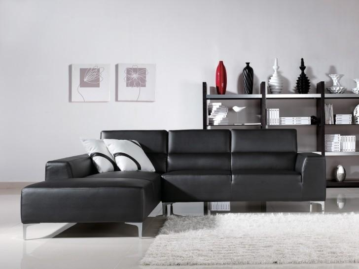 Living Room Interior With Dark Grey Leather Sectional Sofa With For Contemporary Brown Leather Sofas (Image 15 of 20)
