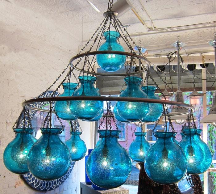Liza Sherman Egyptian Chandeliers Regarding Turquoise Blue Chandeliers (Image 14 of 25)