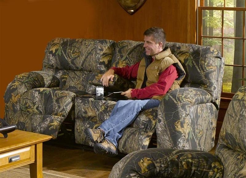 Lodge Console Reclining Love Seat In Camouflage Covercatnapper In Camo Reclining Sofas (View 20 of 20)