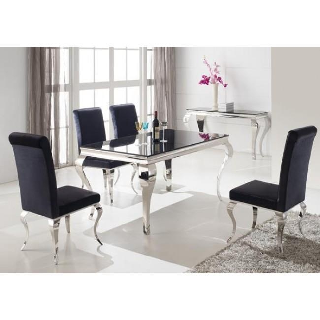 Louis 160Cm White And Chrome Dining Table With 6 Sliver Chairs Inside Chrome Dining Tables (View 16 of 20)