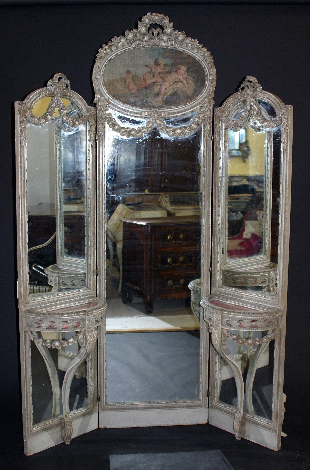 Louis Xvi Style Tri Fold, Full Length Mirror Throughout French Style Full Length Mirror (Image 19 of 20)