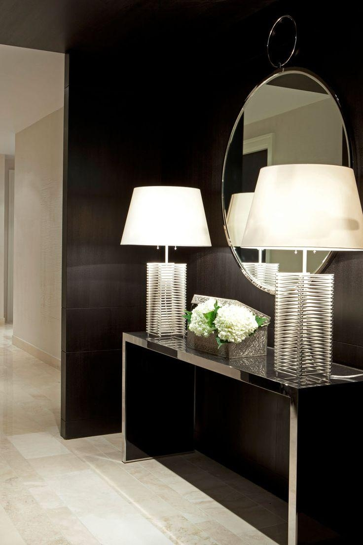 Love The Whole Look  Lamps, Mirror Against The Black Wall! | Decor For Contemporary Hall Mirrors (Image 16 of 20)