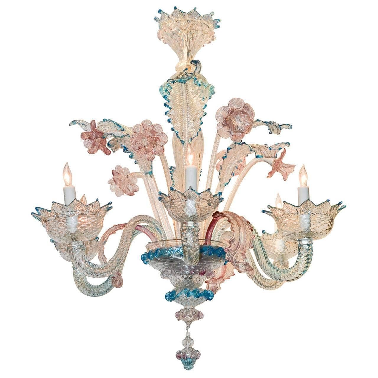 Lovely Antique Blue And Pink Murano Glass Chandelier At 1stdibs With Turquoise And Pink Chandeliers (View 20 of 25)